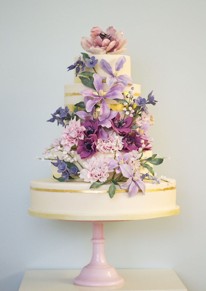 English Country Garden Wedding Cake - Rosalind Miller