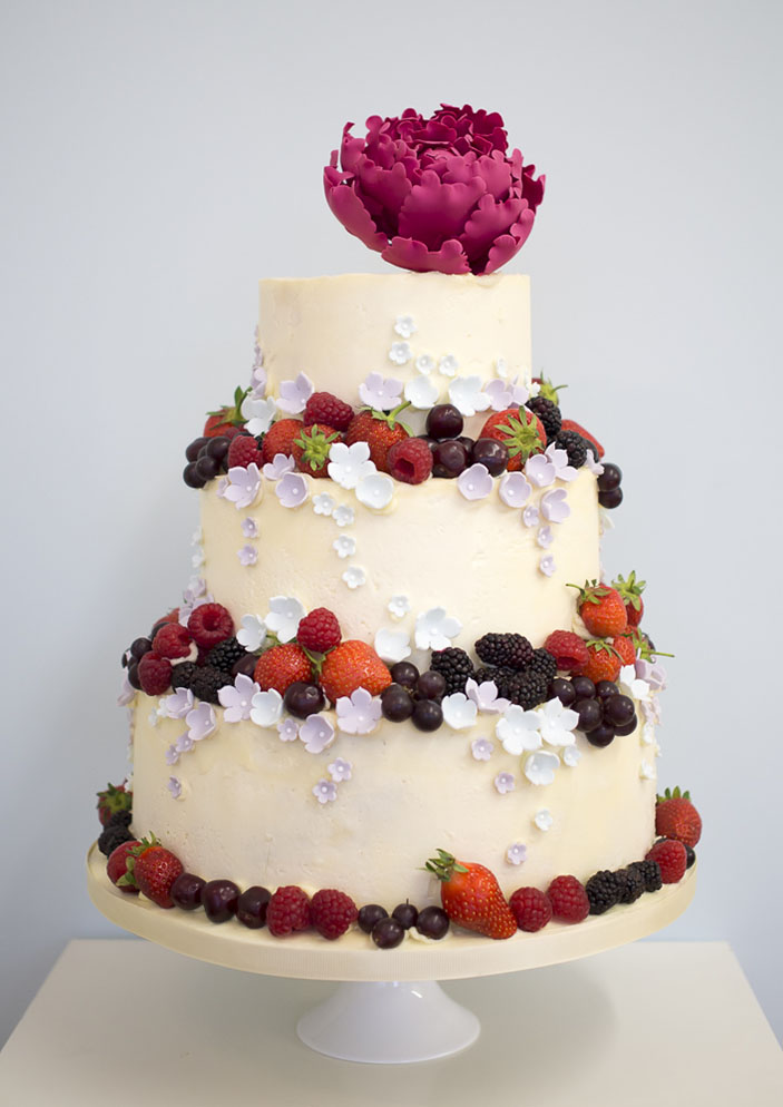 Buttercream Summer Fruits Wedding Cake - Rosalind miller