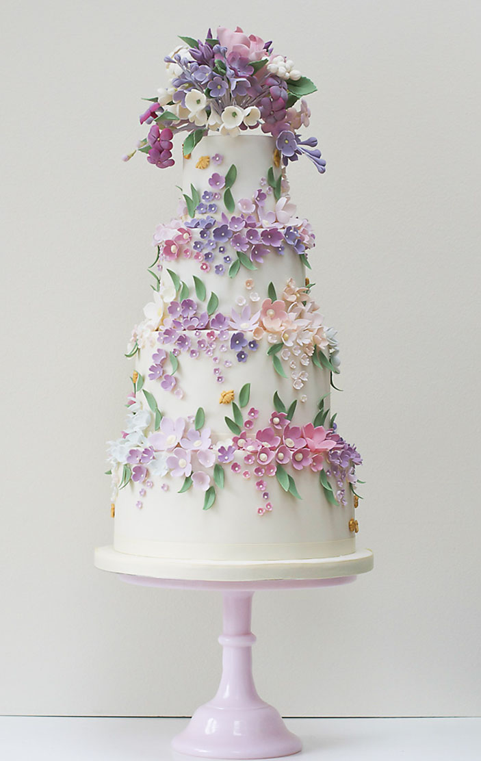 Bees and Blossoms wedding cake