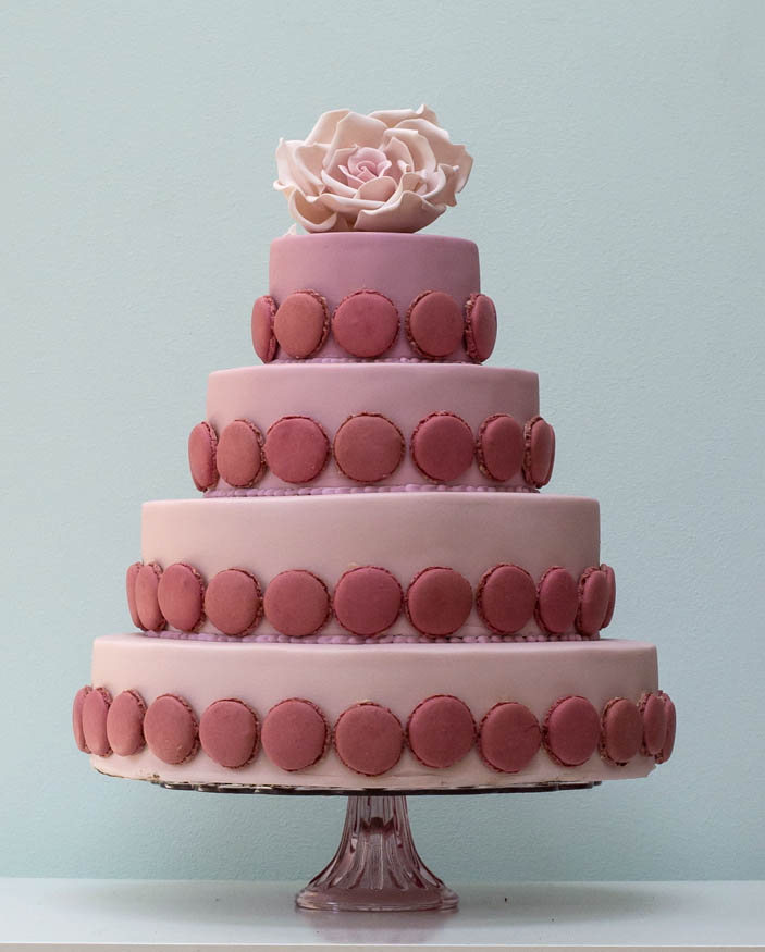 Ombre wedding cake with pink flower