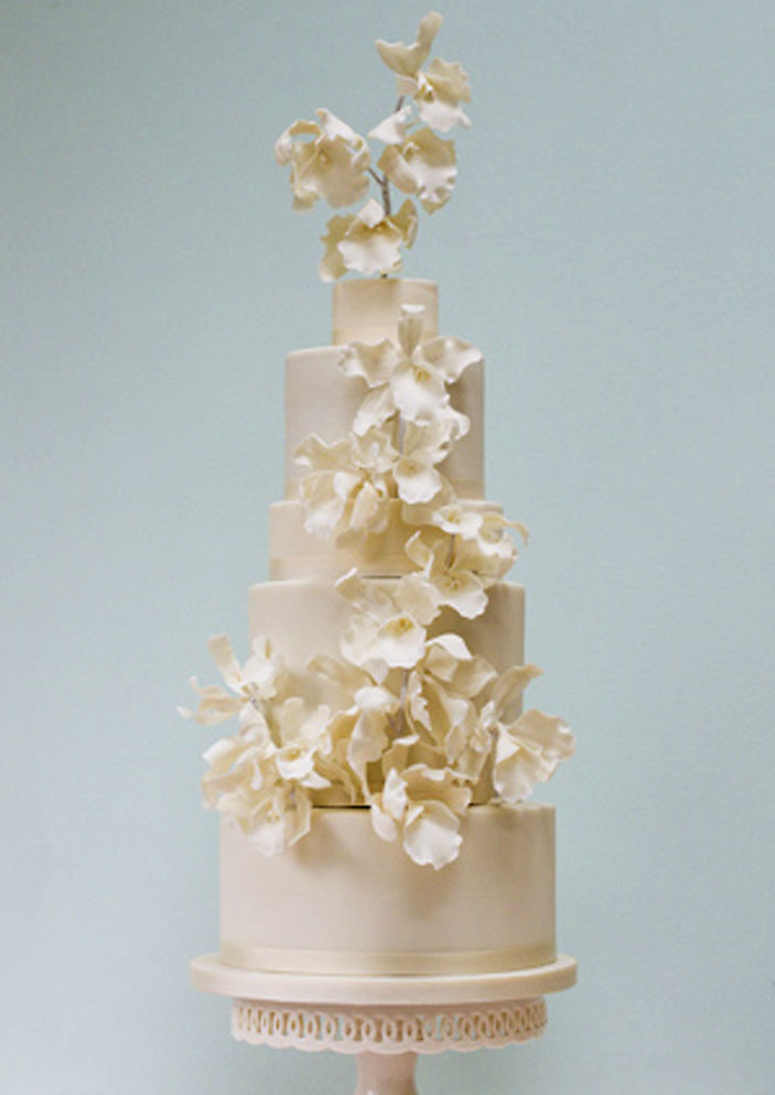 Orchids and Anemones Wedding Cake