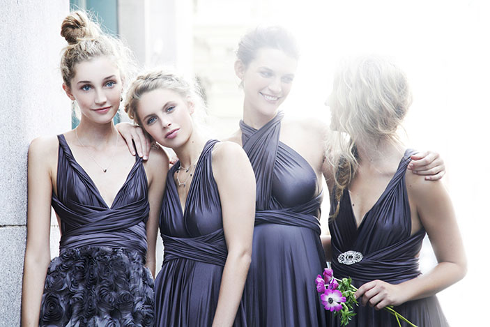 two birds bridesmaid dresses - slate