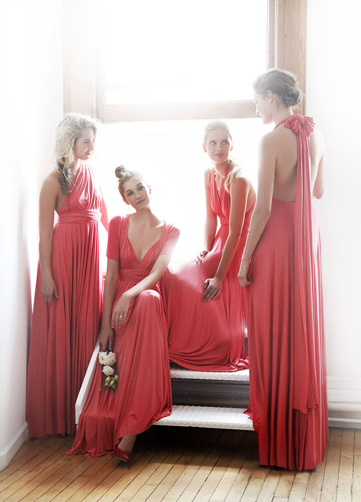 two birds bridesmaid dresses - coral