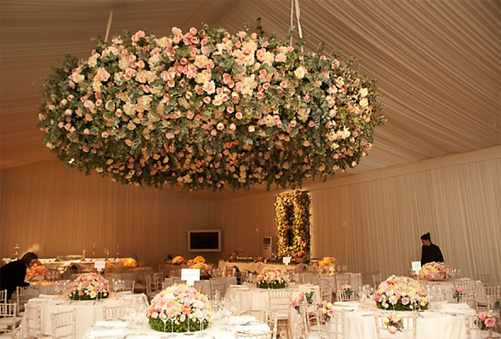 Pink display in wedding reception
