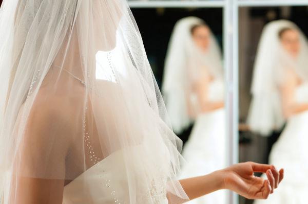 bride in shop