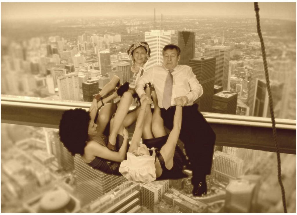 Wedding guests on a skyscraper