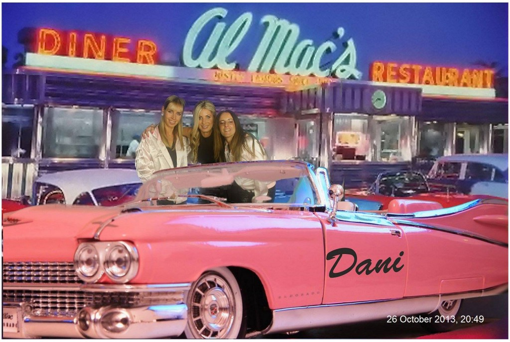 Green screen pink ladies, diner