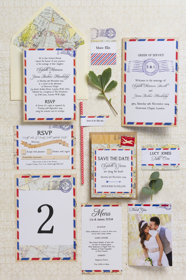 Airmail Wedding Stationery Suite Collection by HIp Hip Hooray