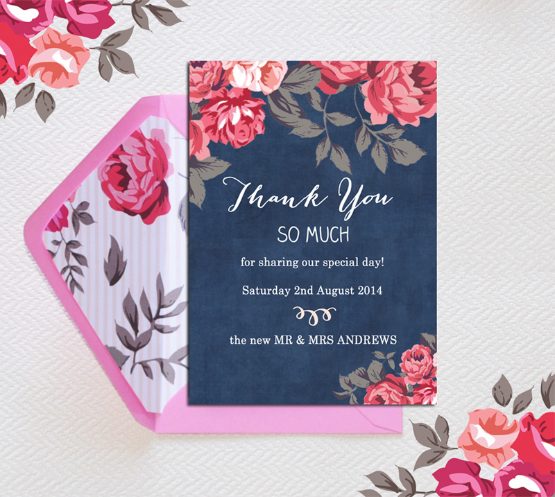 Botanical Save the Date as Thank You Card with pattern by hiphiphooray