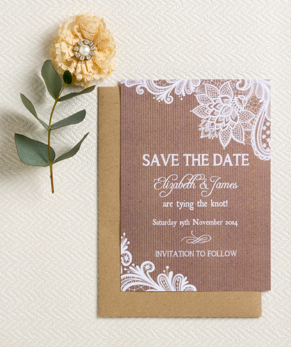 Kraft & Lace Save the Date by Hip Hip Hooray