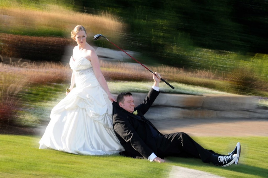 bride dragging groom wedding cliché