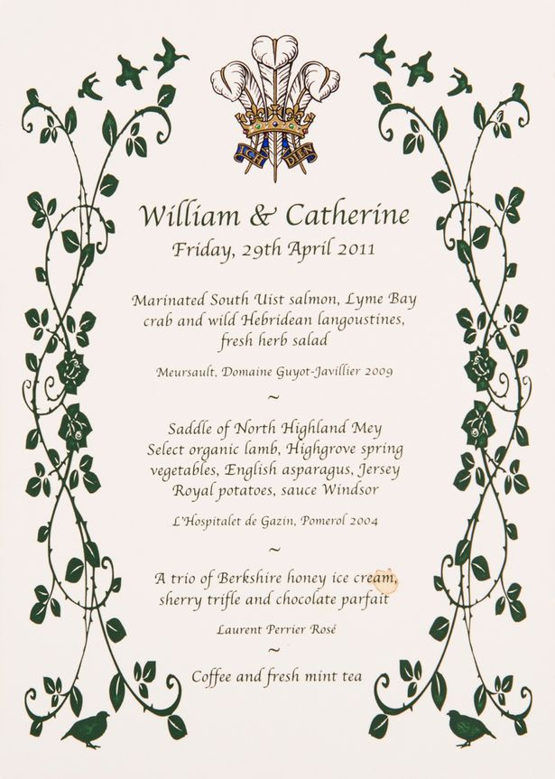 wills and kates menu