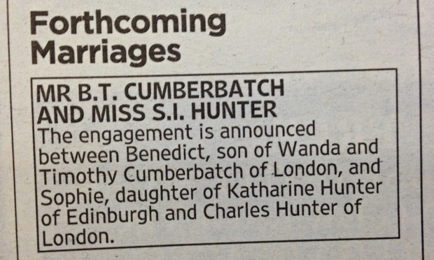 Benedict Cumberbatch engagement announcement
