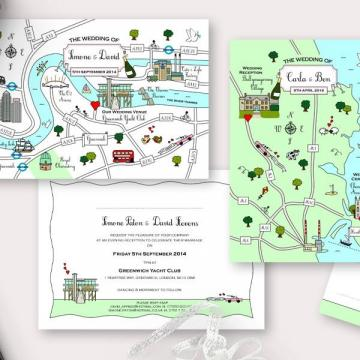 Cheap wedding invitations - Cute Maps