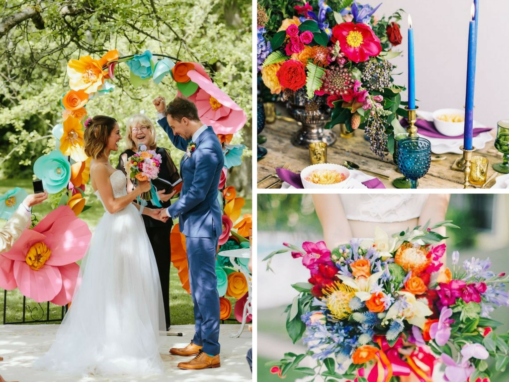 wedding, wedding colour scheme, wedding colour pop, clashing colours, colour scheme, colour palette, bright colours,