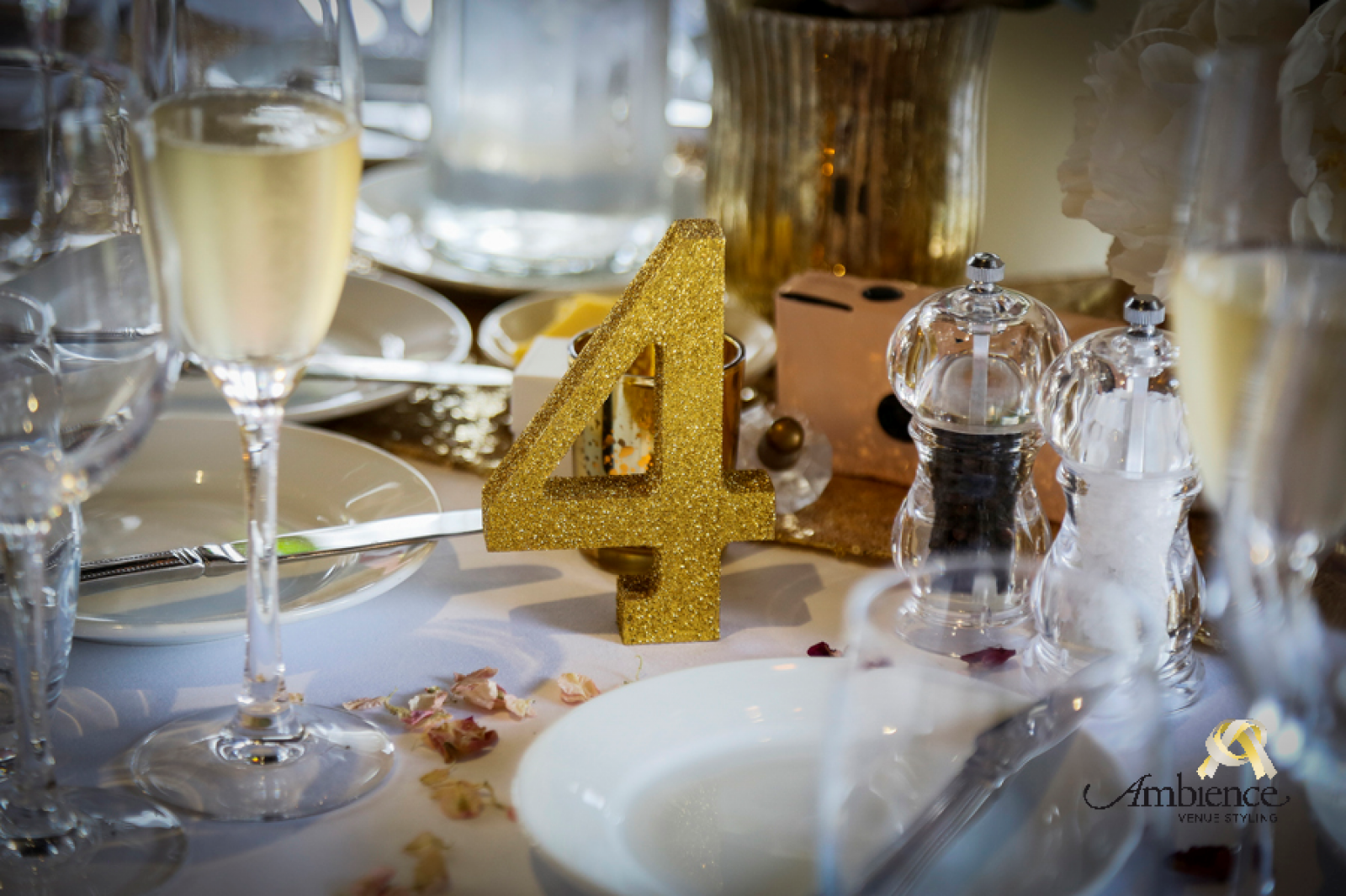 gold glitter wedding table number