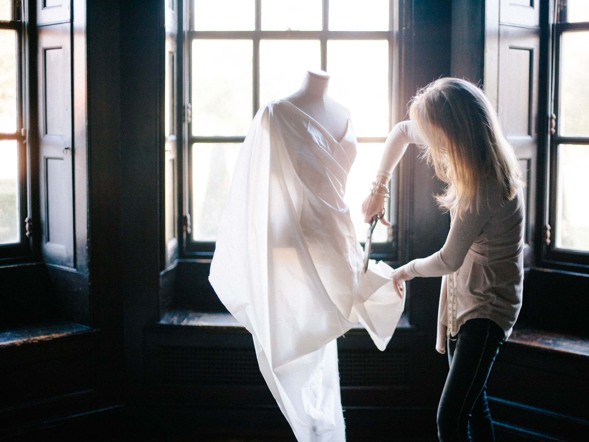 Caroline Arthur designing wedding dress