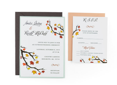 Autumn Wedding Invitation - Wedding Invitations - WeddingPlanner.co.uk