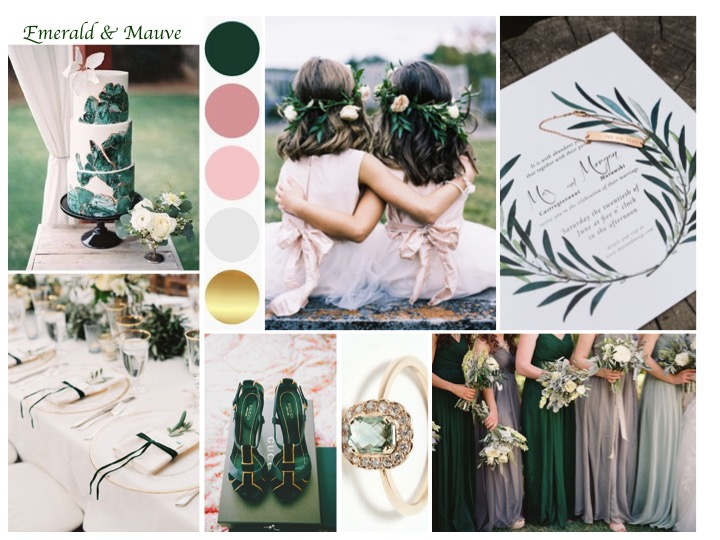emerald and mauve wedding, emerald wedding ideas, mauve wedding ideas, wedding colour ideas, wedding mood board