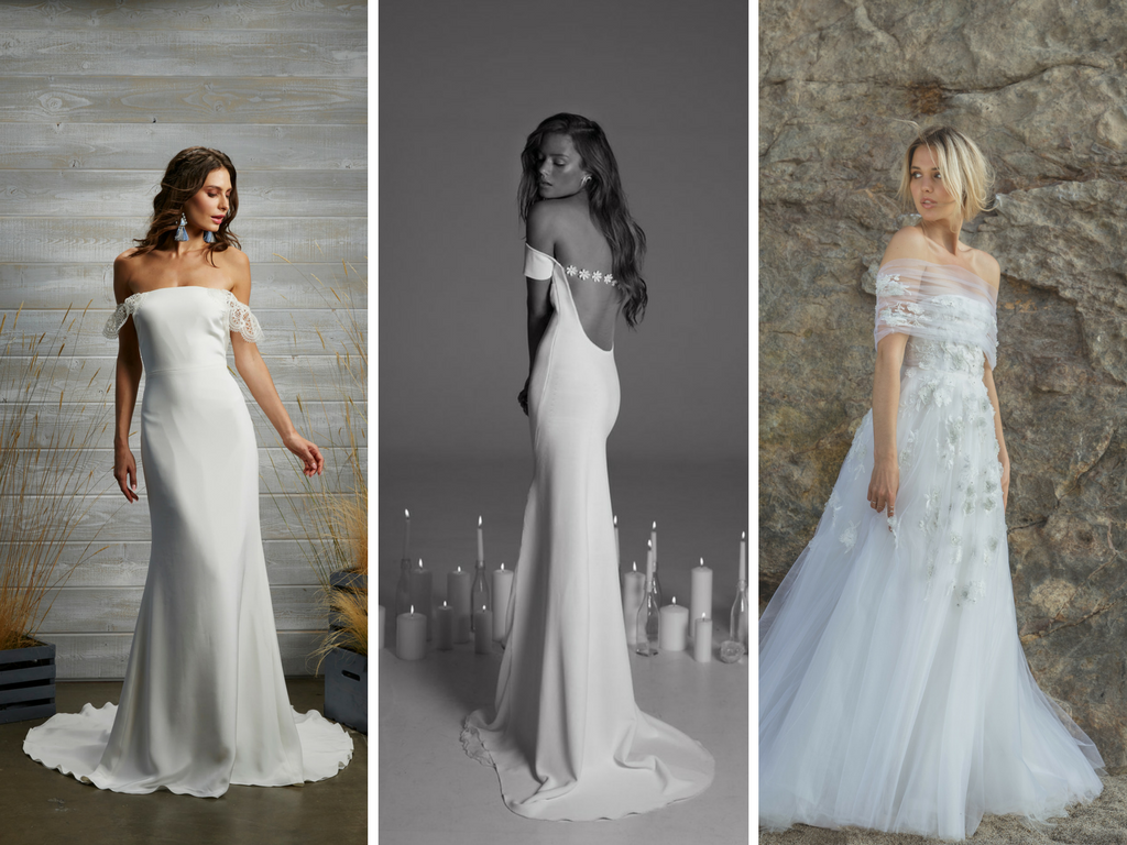 wedding dresses, off the shoulder wedding dresses, wedding dress trends