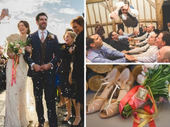 Clare & Dan's Colour Pop Southend Barn Wedding