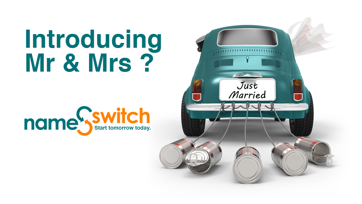 name switch, mr and mrs, just married