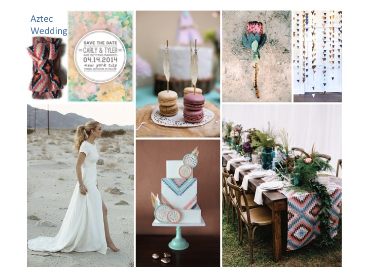 aztec wedding inspiration, aztec wedding, wedding mood board,