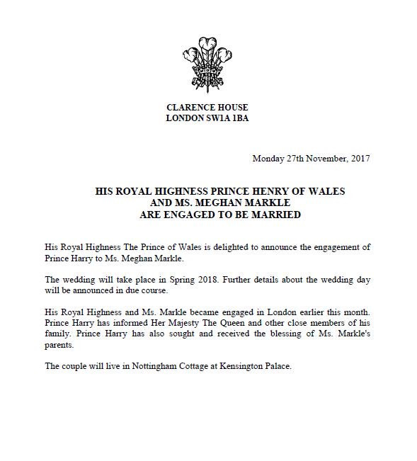 press release, clarence house, royal wedding, meghan markle, prince harry