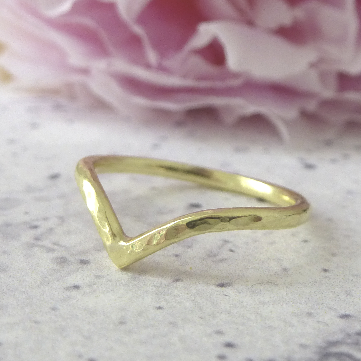 nikki stark jewellery, wedding band, gold wishbone wedding band