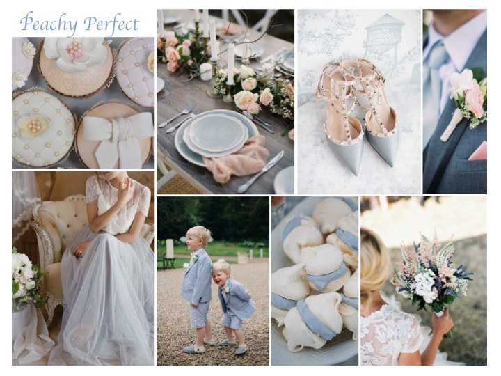 pastel pink and blue wedding mood board
