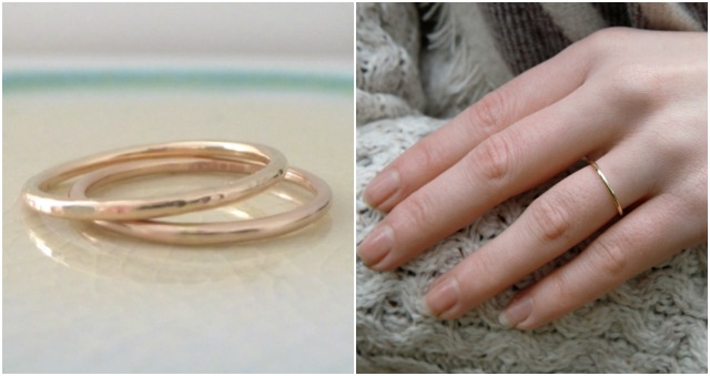 nikki stark wedding ring, wedding ring, wedding band, thin gold wedding band
