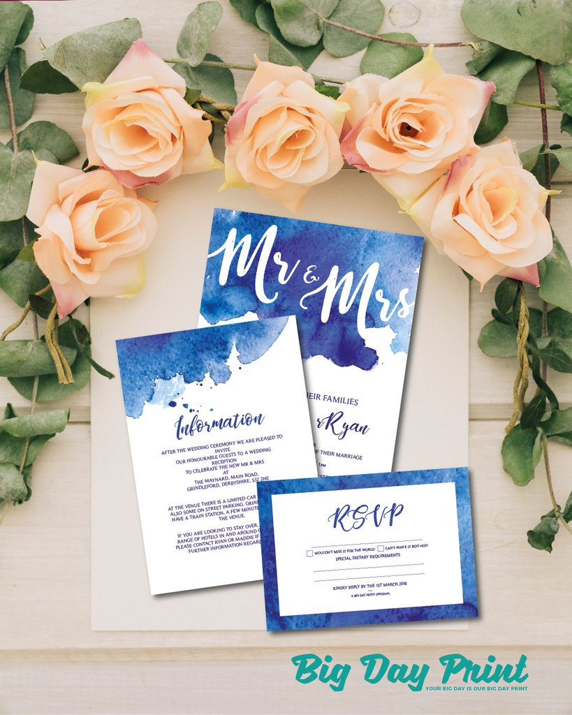 big day print, wedding invitations