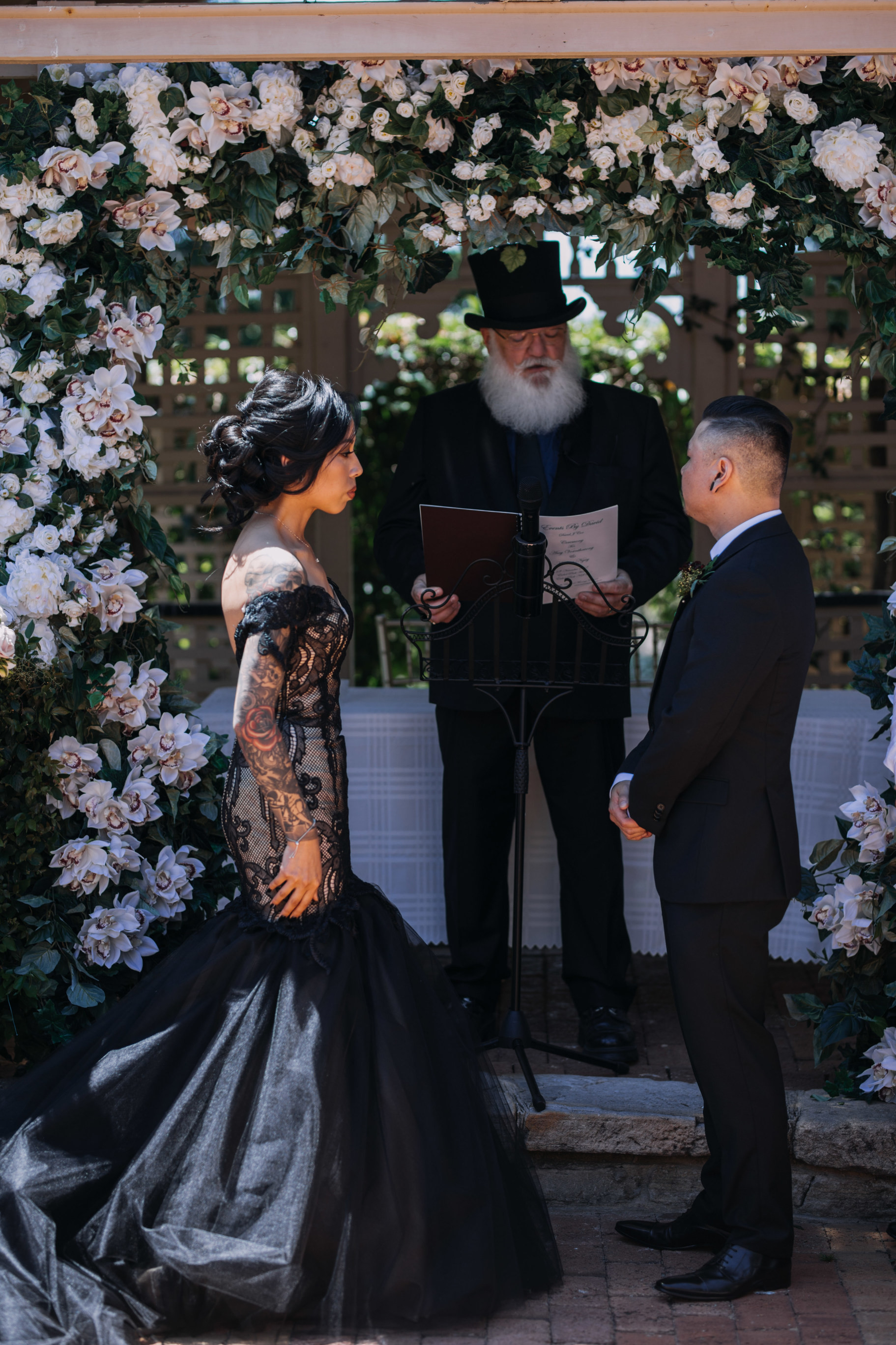 goth wedding, gothic wedding, black wedding dress, real wedding, unique wedding,